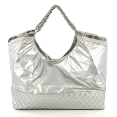 Chanel Flashdance Coco Cabas Quilted Vinyl Large Silver 415176