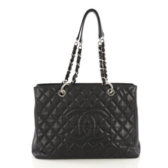 Chanel Grand Shopping Tote Quilted Caviar Black 415237