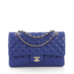 Chanel Classic Double Flap Bag Quilted Lambskin Medium Blue 415322