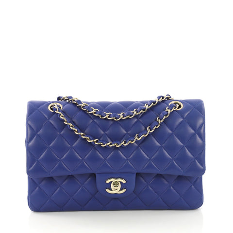 15698356c75f91 Chanel Classic Double Flap Bag Quilted Lambskin Medium Blue 415322 – Rebag