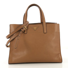 Prada Soft Triple Pocket Convertible Tote Saffiano Leather Brown 415331