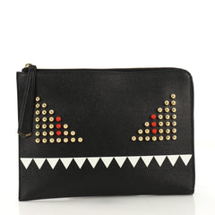 Fendi Monster Pouch Studded Leather Small Black 4155801