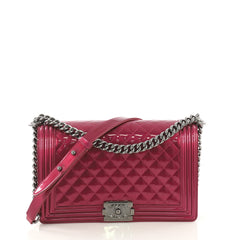 Chanel Boy Flap Bag Quilted Patent New Medium Pink 415761