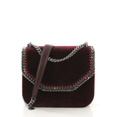 Stella McCartney Falabella Box Shoulder Bag Velvet Small Red 415893