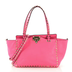 Valentino Rockstud Tote Soft Leather Small Pink 415934