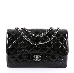 Chanel Classic Single Flap Bag Quilted Patent Jumbo Black 415939