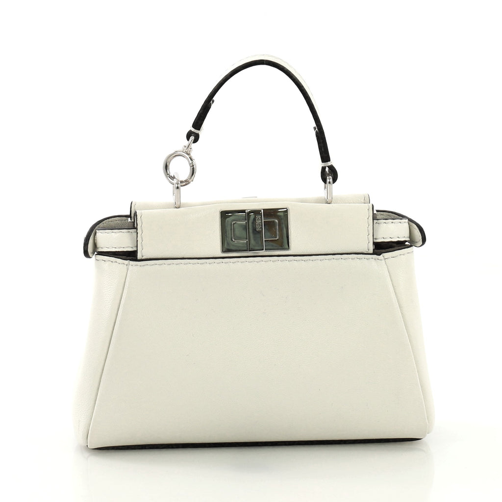 5e7d13881b7c Fendi Peekaboo Bag Leather Micro White 4160417 – Rebag