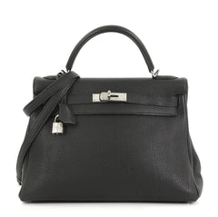 Hermes Kelly Handbag Black Togo with Palladium Hardware 32 4160419