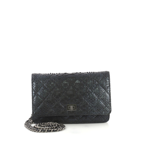 57addcf77e46 Chanel Reissue Wallet on Chain Quilted Metallic Python Blue 4160430 – Rebag