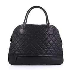 Chanel Weekender Bag Quilted Coated Canvas Horizontal Black 4160432