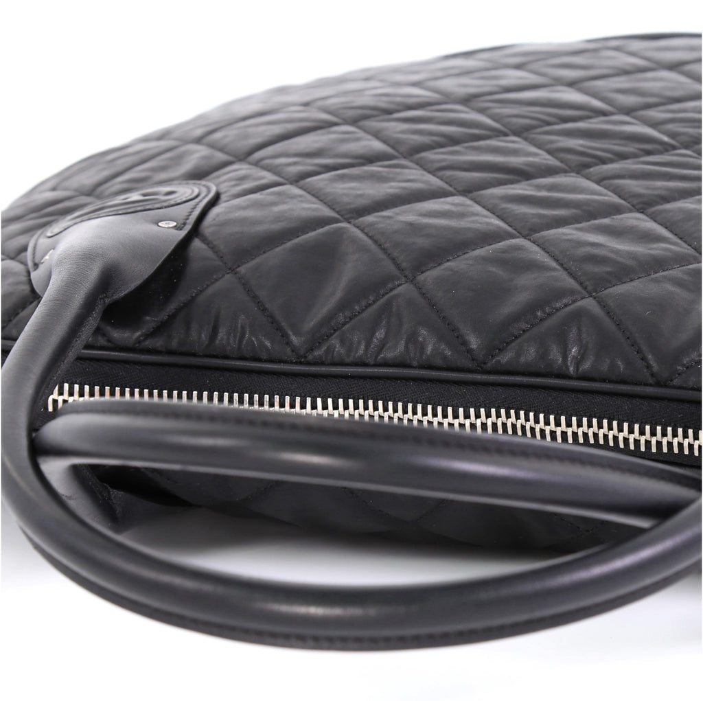 b635cacff943a4 Chanel Weekender Bag Quilted Coated Canvas Horizontal Black 4160432 ...