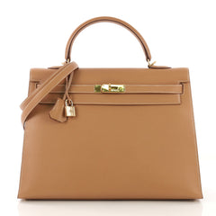 Hermes Kelly Handbag Brown Courchevel with Gold Hardware 35 416047