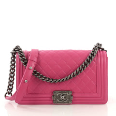 Chanel Boy Flap Bag Quilted Lambskin Old Medium Pink 416048