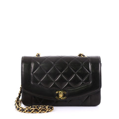 Chanel Vintage Diana Flap Bag Quilted Lambskin Small Black 4160615