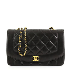 8b5818ea91f9 Chanel Vintage Diana Flap Bag Quilted Lambskin Medium Black 4160618