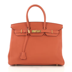 Hermes Birkin Handbag Orange Togo with Gold Hardware 35 - Rebag