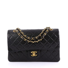 Chanel Vintage Classic Double Flap Bag Quilted Lambskin Black 4160621