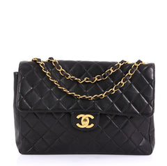 Chanel Vintage Square Flap Bag Quilted Lambskin Jumbo Black 4160622