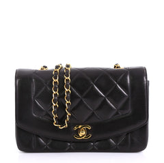 Chanel Vintage Diana Flap Bag Quilted Lambskin Small Black 4160623