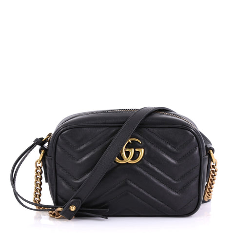 487608a8b63 Gucci GG Marmont Shoulder Bag Matelasse Leather Mini Black 4160627 – Rebag