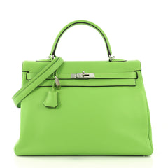 Hermes Kelly Handbag Green Clemence with Palladium Hardware 416062