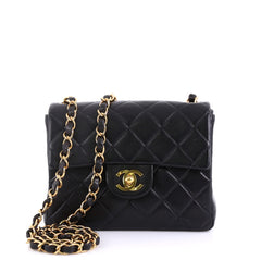 Chanel Vintage Square Classic Single Flap Bag Quilted Black 4160632