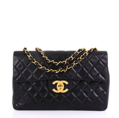 Chanel Vintage Classic Single Flap Bag Quilted Lambskin Black 4160634