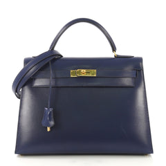 Hermes Kelly Handbag Blue Box Calf with Gold Hardware 32 416063