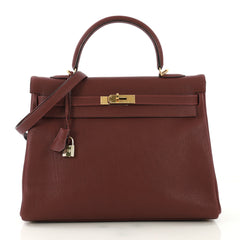 Hermes Kelly Handbag Red Buffalo Skipper with Gold Hardware 35