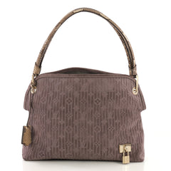 Louis Vuitton Wish Bag Monogram Suede with Python Purple 416081