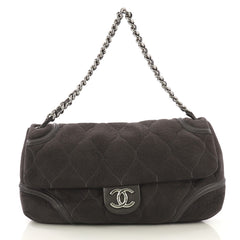 Chanel Rodeo Drive Flap Bag Quilted Microsuede Large Gray 416221