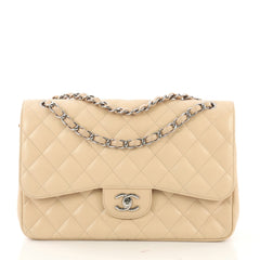 Chanel Classic Double Flap Bag Quilted Caviar Jumbo Neutral 416576