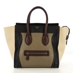 Celine Tricolor Luggage Handbag Leather Mini Neutral 416577