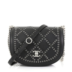 Chanel Coco Eyelets Round Flap Bag Quilted Calfskin Small Black 416621