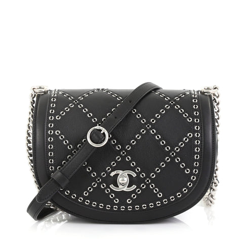 1ed7dafdf640 Chanel Coco Eyelets Round Flap Bag Quilted Calfskin Small 416621 – Rebag