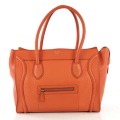 Celine Shoulder Luggage Bag Leather Orange 4166424