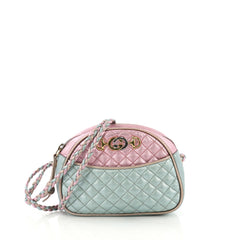 Gucci Camera Shoulder Bag Quilted Laminated Leather Mini Blue 416752
