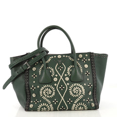 Prada Twin Pocket Tote Embroidered Saffiano Medium Green 41692122