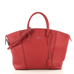 Louis Vuitton Soft Lockit Handbag Leather PM Red 41692123