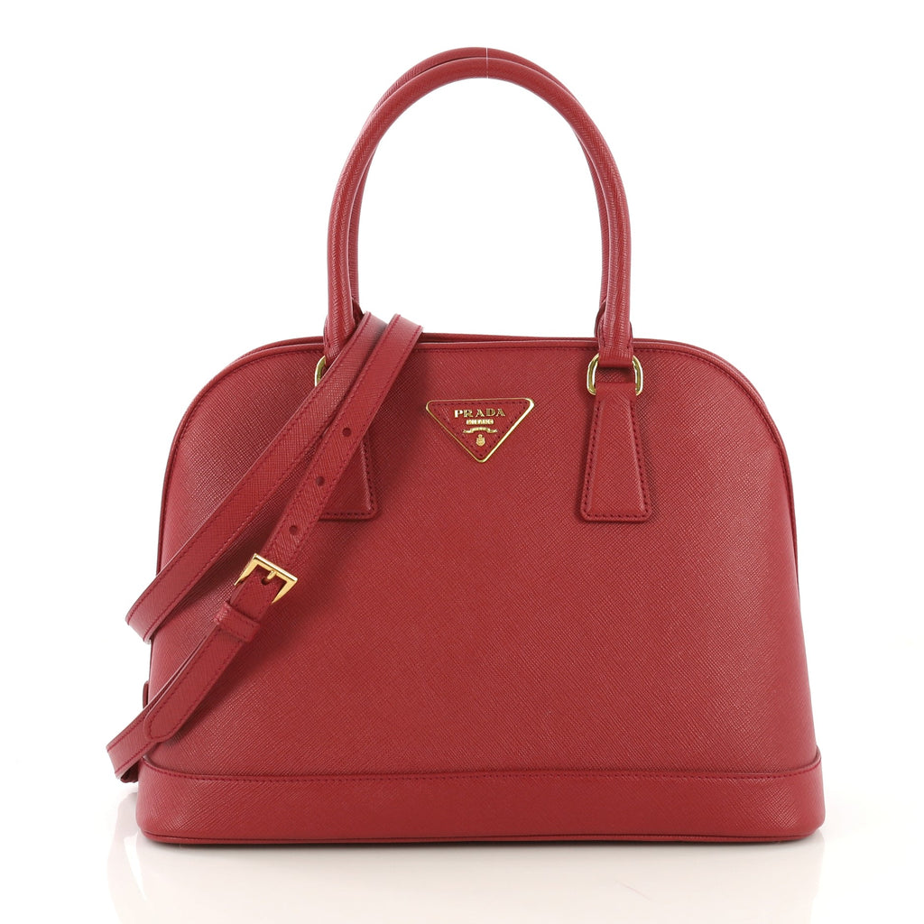 9972f425f7c4 Prada Open Promenade Bag Saffiano Leather Medium Red 41692126 – Rebag