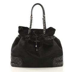 Chanel Drawstring Tote Quilted Calfskin and Pony Hair Black 41692138