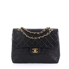 c428ad699e2f Chanel Vintage Square Classic Double Flap Bag Quilted Black 41692160