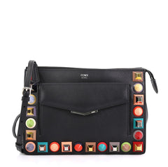 Fendi Front Pocket Crossbody Bag Studded Leather Small - Rebag