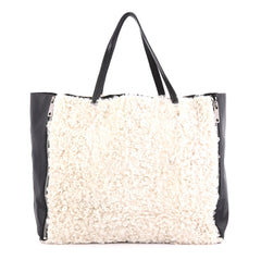 Celine Horizontal Gusset Cabas Tote Shearling and Leather 4169295