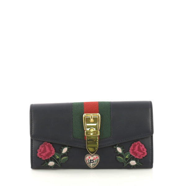f3d502242ca7 Gucci Sylvie Continental Wallet Embroidered Leather Blue 416996 – Rebag