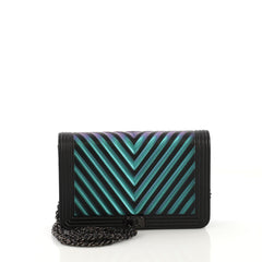 a902915a412b Chanel Boy Wallet on Chain Chevron Painted Calfskin Black 416999