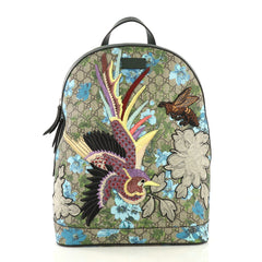 Gucci Zip Backpack Blooms Print Embroidered GG Coated Brown 4170057