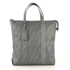Fendi Shopping Tote Zucca Coated Canvas Tall Gray 4170064