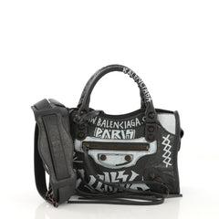 Balenciaga City Graffiti Classic Studs Bag Leather Mini 4170072