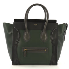 Celine Bicolor Luggage Handbag Leather Mini Green 417008